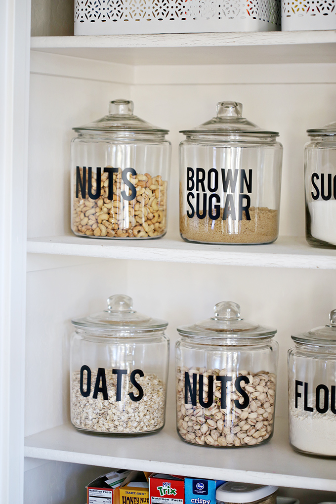 Reduce the need for bags/boxes and make everything in your pantry more organized and uniform. Add staples, such as flour and oats, to the jars, and it also helps you see when you're running low.