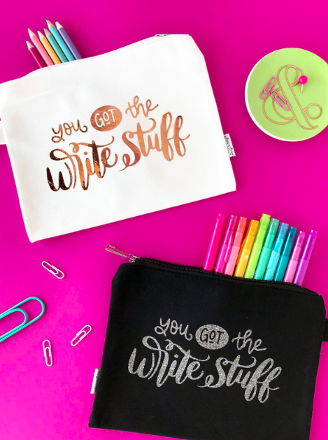 Make your own fun pencil pouches with HTV and this free hand-lettered cut file!