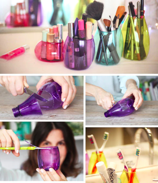 Instead of tossing those plastic bottles, keep the cute and colorful ones and transform them into cool little storage pots.