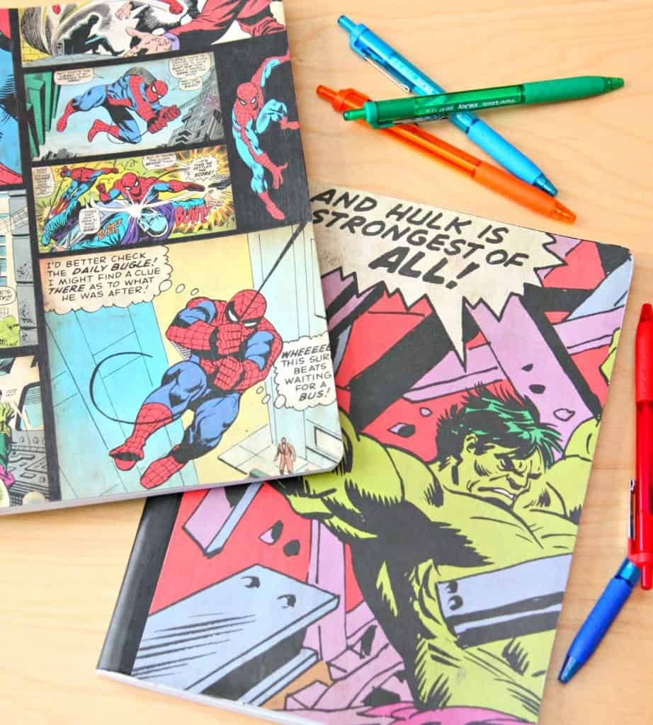 Superhero notebooks are simple to make with 5 supplies needed and only 5 easy steps to make custom notebooks.