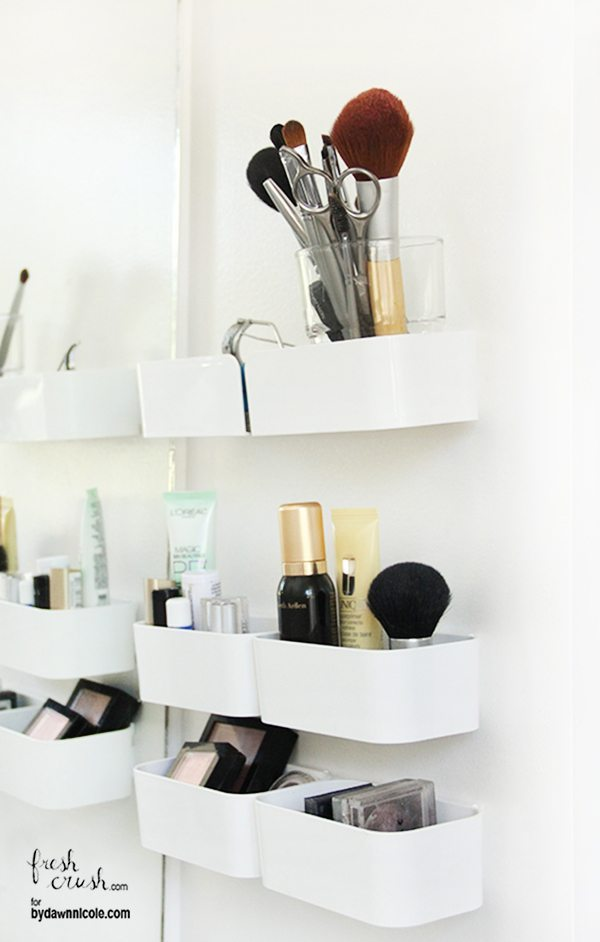 If you have limited counter space for makeup bags, these wall mounted IKEA storage bins are perfect!
