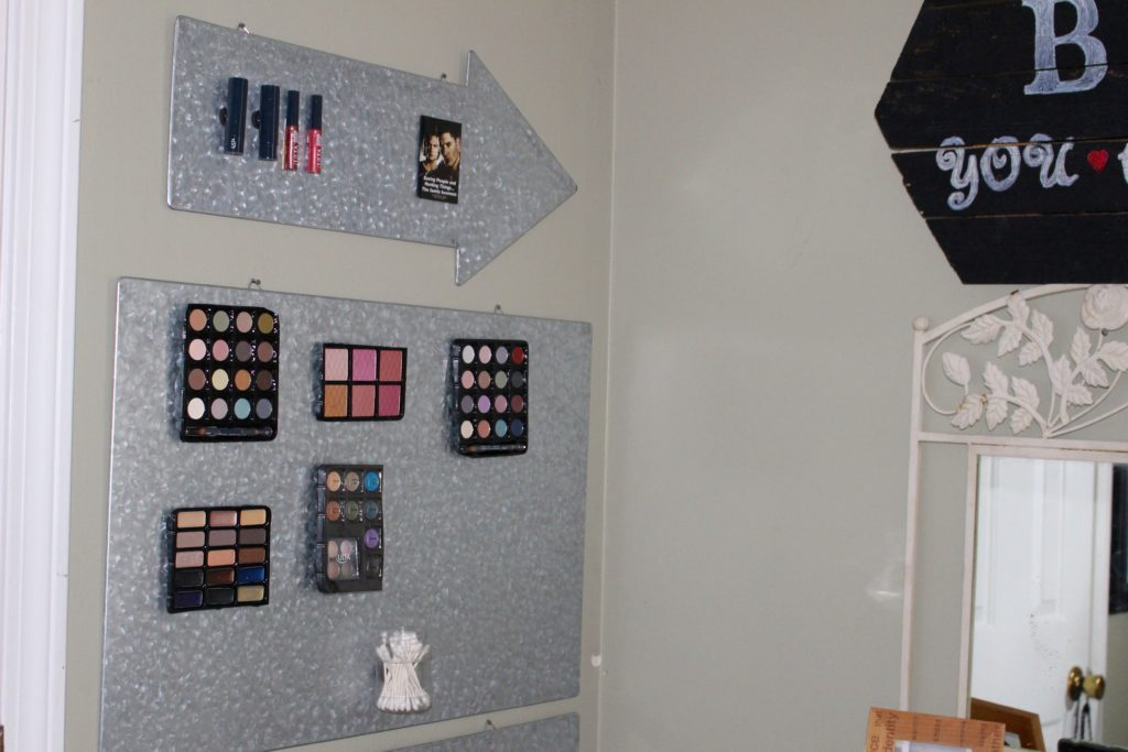 When you run out of room on the counter, move the makeup organizer up to the wall