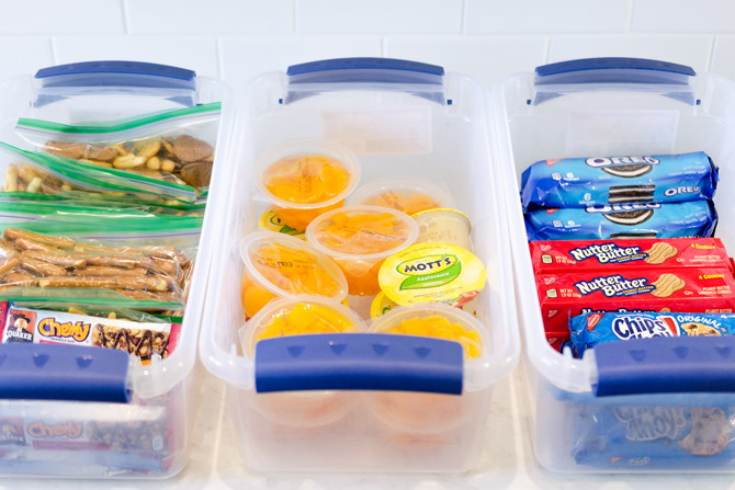 Store snack bins in the pantry for easy lunch making!