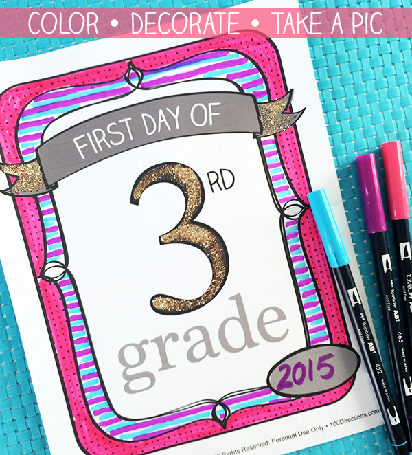 Print, color, and a take a pic with these DIY First Day of School Photo Signs!