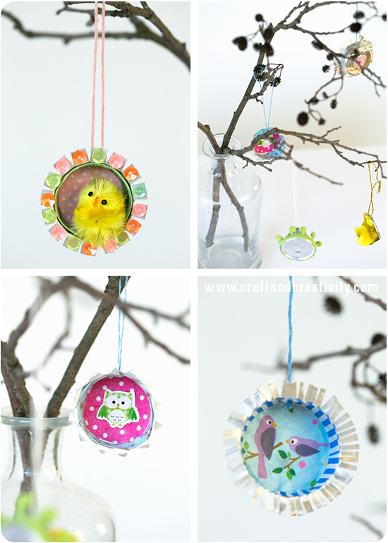 The cups are easy to cut and they are a blast to decorate. You can use supplies you have at home – such as buttons, washi tape, paper scraps, stickers, cute chickens, sequins and pretty ribbons.