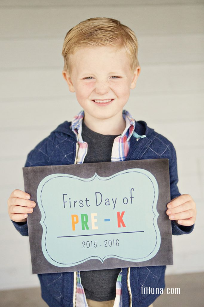 They're all set to head back-to-school soon, and you can't forget to take their first day photos.  Add these cute chalkboard printed signs to the photos for added fun.