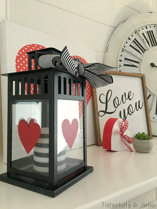 And the lanterns from Ikea are so cute, affordable and accessible. This is an easy way to decorate a shelf or mantel for Valentine's Day (or any other holiday for that matter!).