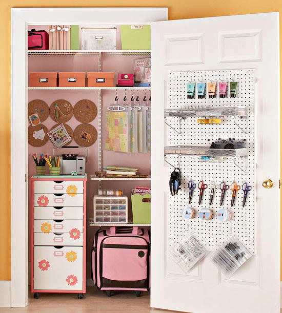 If your office and craft supplies are taking over your house, tuck them into a spare hall closet!