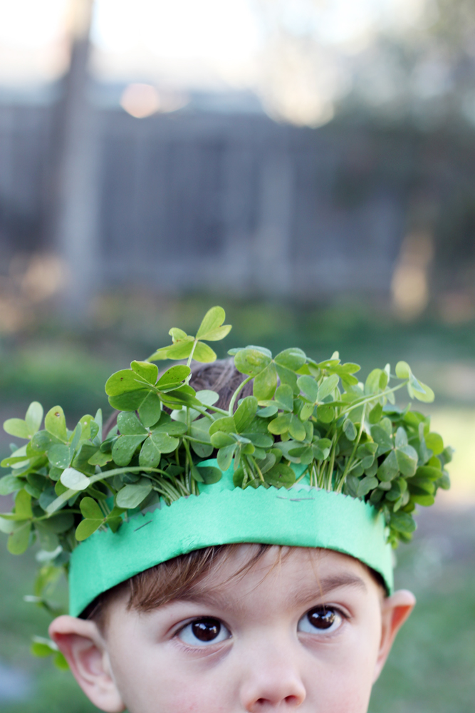 Looking for a simple way to celebrate St. Patty's Day with little ones?  How about a little nature hunt for clover?  Followed by some simple crafting.