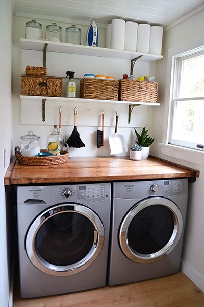 Don't let a small space get you down - you can still build the perfect laundry room in that tiny space!