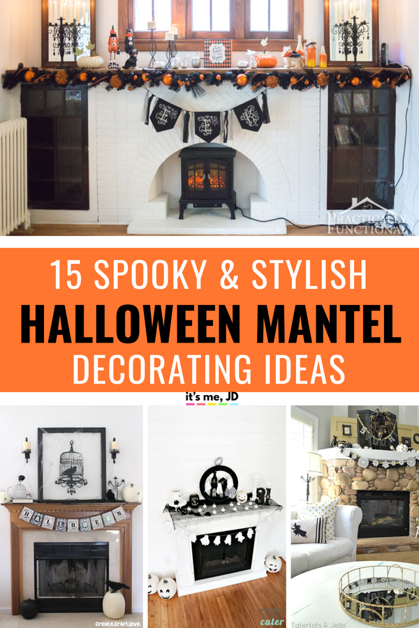 15 Halloween Mantel Decorating Ideas That Are Spooky But Still Stylish! #Halloween #halloweendecor #halloweenmantel #halloweenfireplace #halloweendecorations
