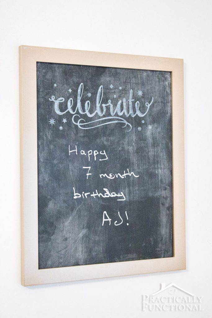 It's so easy to turn an old picture frame into a DIY chalkboard sign!