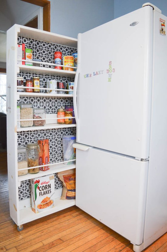 Don't have a pantry, and don't have the room to build one?  Make one to slide into the smallest space - genius!