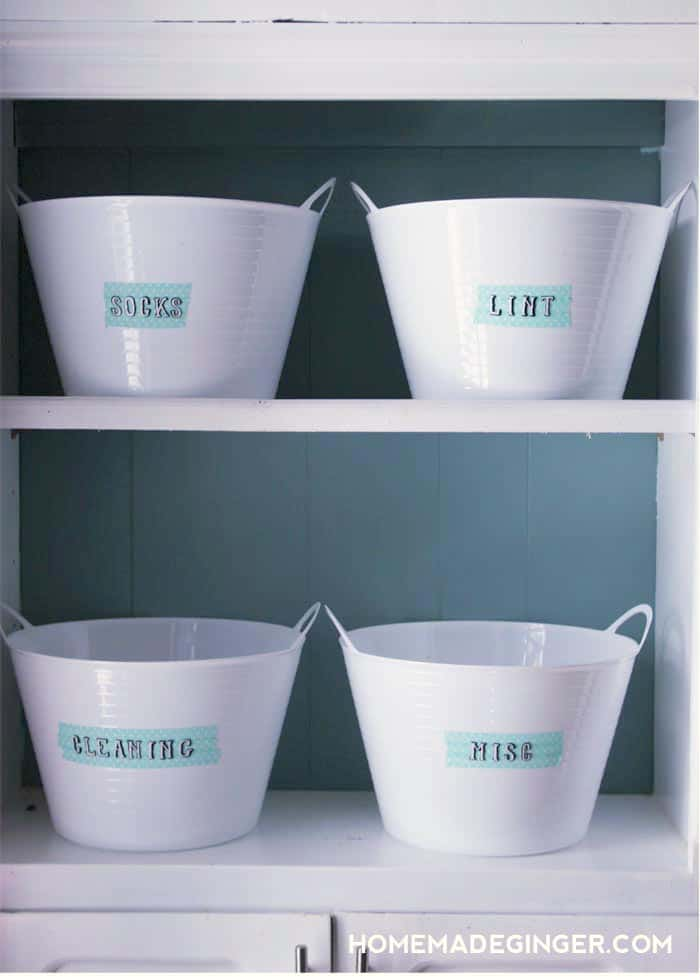 These catch all buckets will give everything its own spot and keep things tidy.