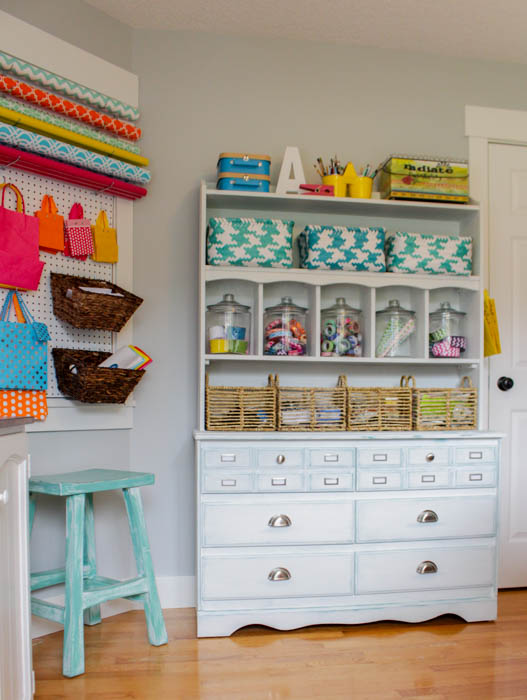 Don't have an entire room for your craft stash?  Use an old dresser to get organized!