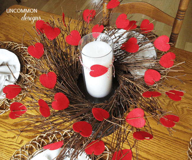 Use ONE felt heart garland to create this simple, relaxed Felt Heart Valentine Centerpiece. It is such an easy and quick craft to create and use year after year.