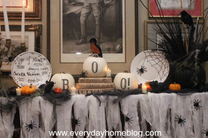 Add some spider webs, rats, and spooky lighting and your mantel will be perfect!