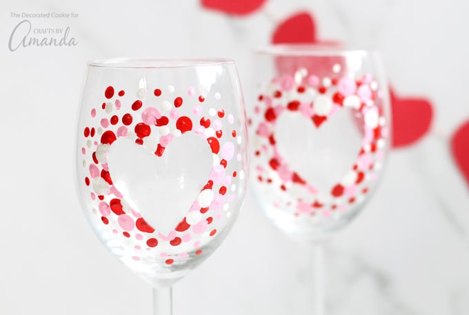 Toast to your significant other with these hand-painted Valentine's Day wine glasses.