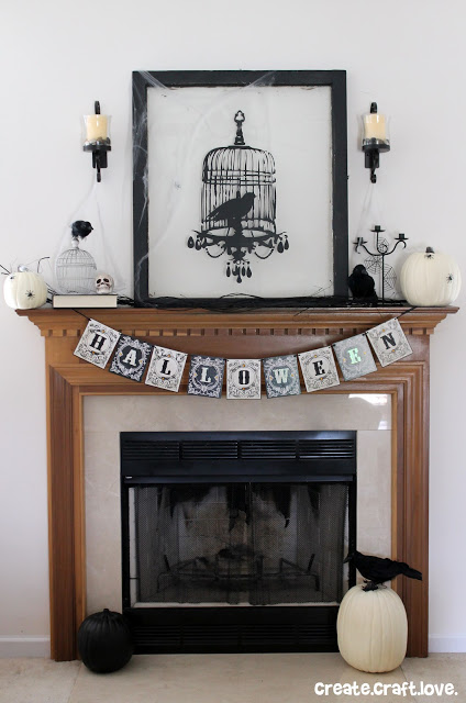 Use an old window to spice up your Halloween Mantel with some black and white art.