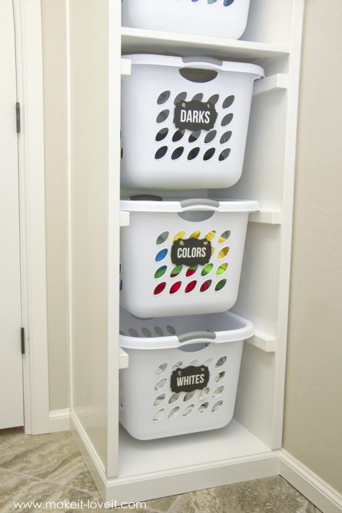 With a built in laundry organizer, you can fit 6 baskets in the laundry room, all at the same time and each has their own little space inside of this upright unit.