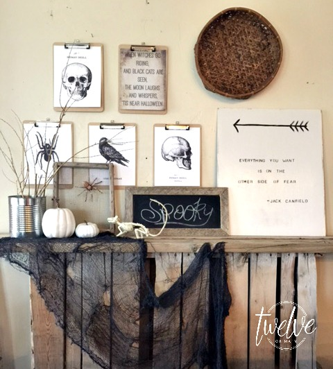 With these Halloween Printables and some creepy elements you've got a picture perfect mantel.
