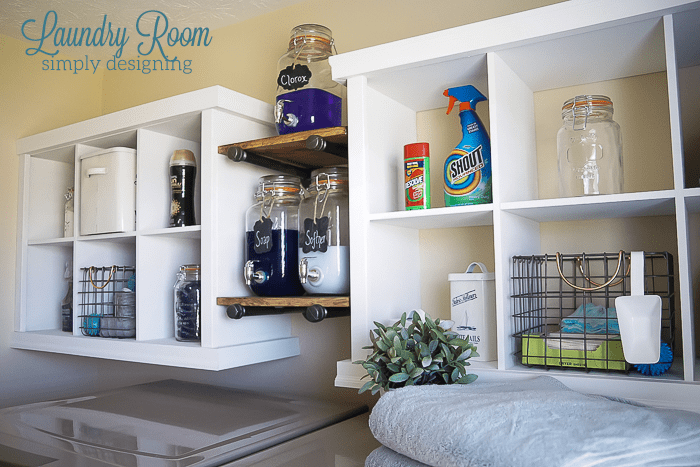 You won't believe the amount of additional space you'll have when you add shelves above the washer and dryer!