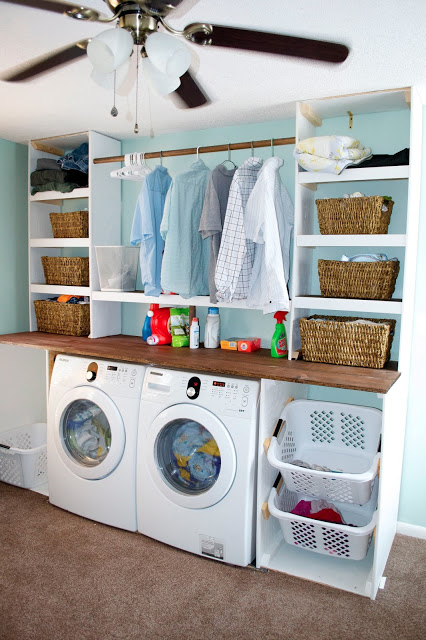 If you've got an extra wall - build your laundry storage into that wall.