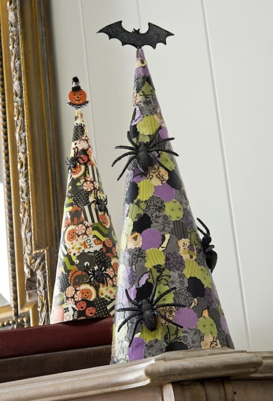 These cones are so simple that even a kid can make them. Perfect for a spooky mantel!