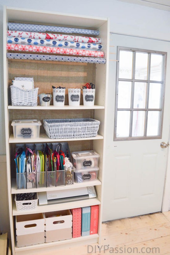 When you don't have all the space in the world, the simplest things can take up so much space.  Making a wrapping station that stores wrapping paper, bows, bags, and tissue - is a great organizational tip!
