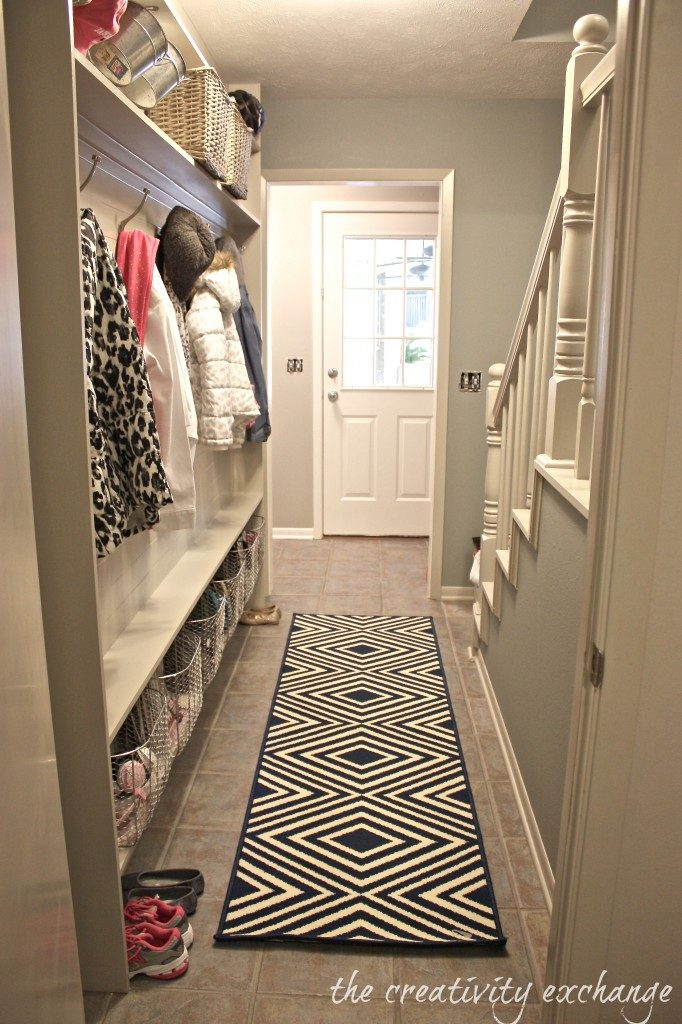 If you have a very narrow walkway in your entry, there's still hope! You can still have a mudroom!