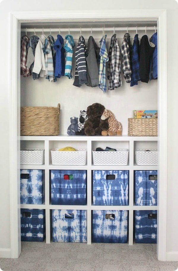 Don't have room for another bookshelf or dresser?  Build shelving into the closet for more storage!
