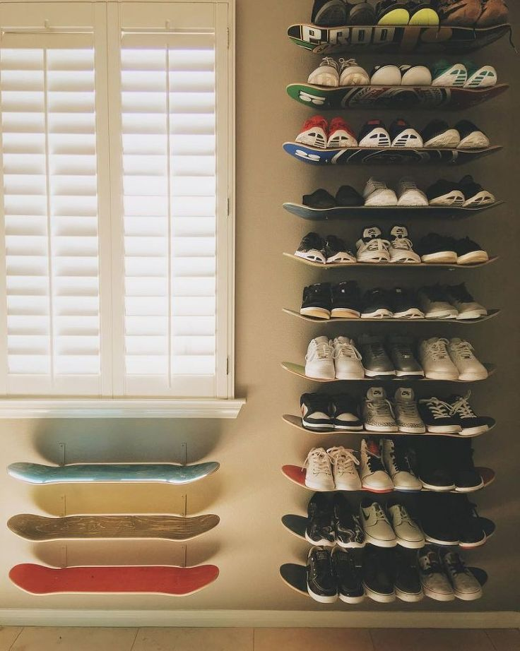 Very little space for all those shoes?  These skateboard shelves are the most unique idea!