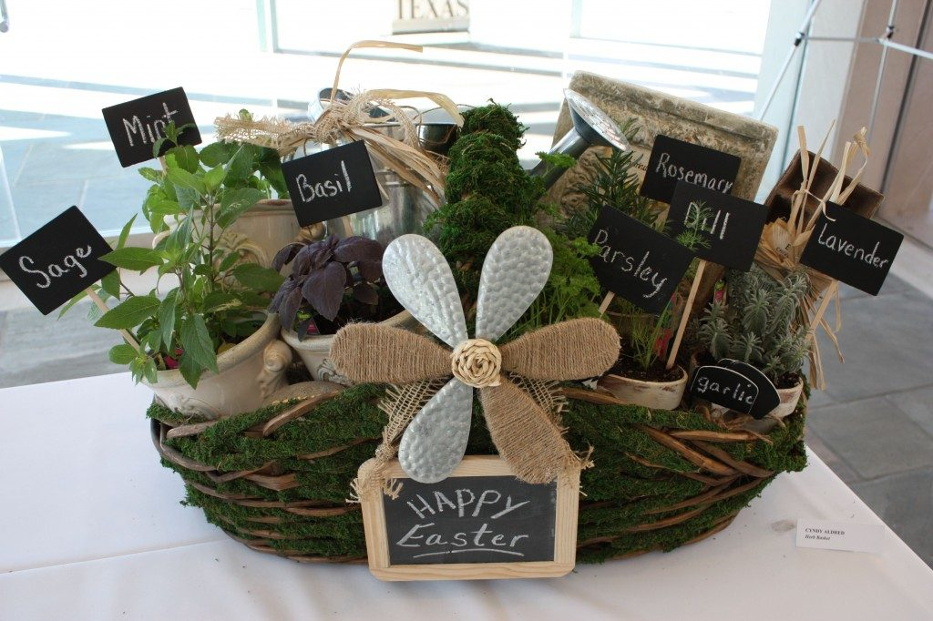 You can gift this moss covered basket filled with pots of herbs and all kinds of garden goodies.