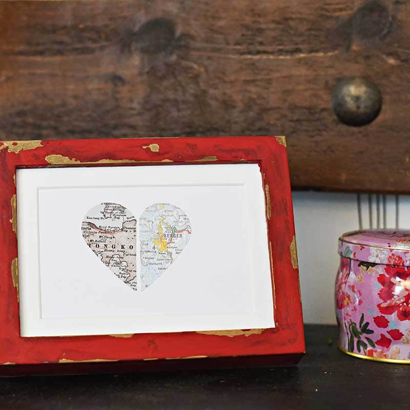 The framed heart is made of 2 maps of places that are special to you and the giftee.