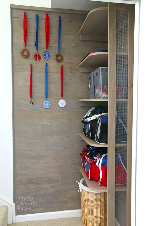 Don't let your house be a dumping ground for sports equipment when you can build a small storage area for it instead!