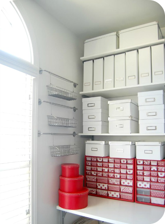 Use your empty wall space for shelves, fancy hangers and hooks and even hanging baskets and bins.  Take a tiny corner of your walk-in closet and make an office space with plenty of storage just by using the wall. You can add a desktop with lots of shelves above it all the way to the ceiling.