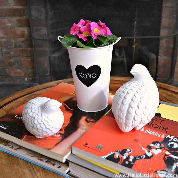 Such a simple coffee table vignette using red books, bird figurines, and a vase filled with African Violets.