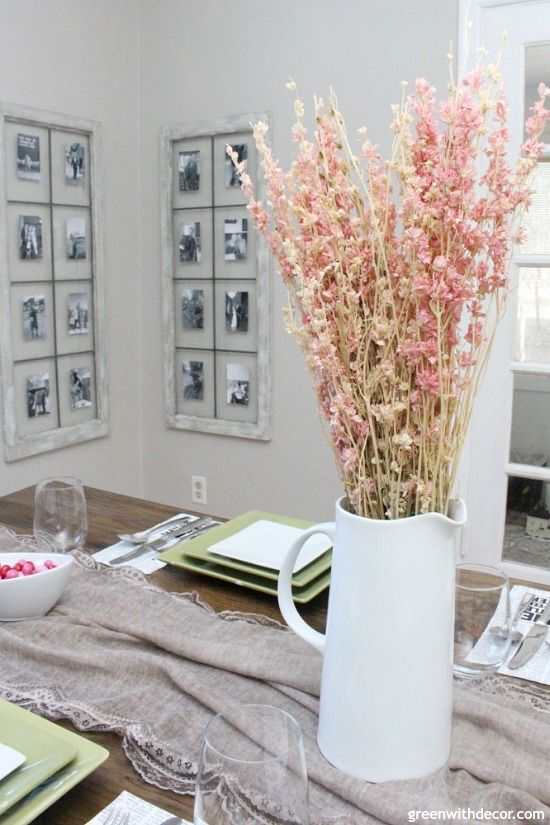 This is such a versatile centerpiece it could totally work for a spring tablescape, too.