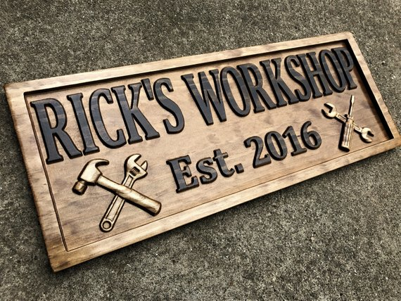 Everyone will know where his workshop is with a personalized handyman wooden sign.