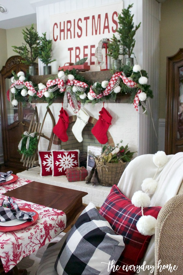Going old-fashioned with black and white checked ribbons and splashes of red, along with touches of vintage and a bit of whimsy make for the perfect Christmas Mantel.