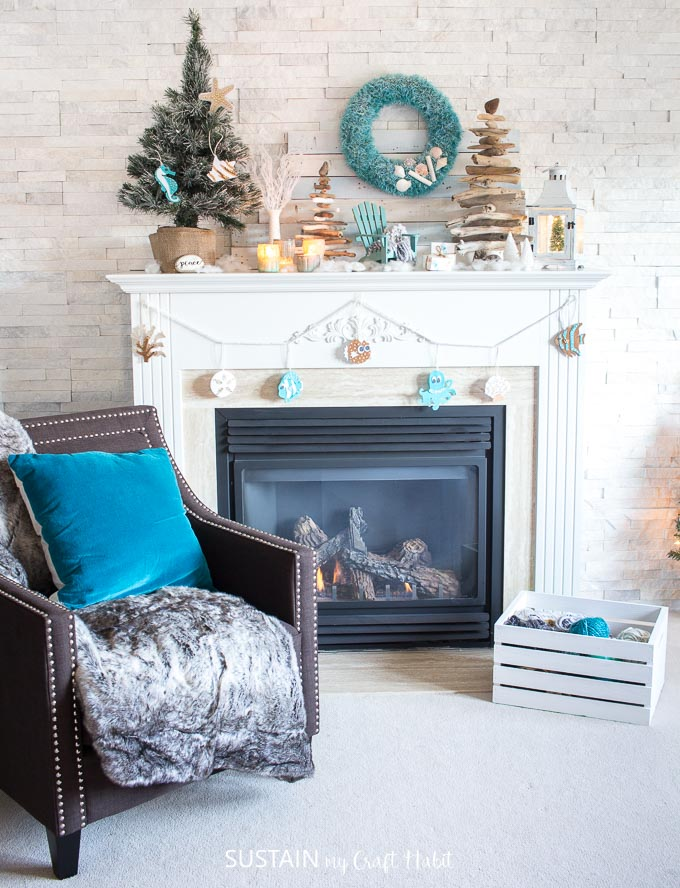 A coastal Christmas mantel wouldn't be complete without some driftwood Christmas trees!