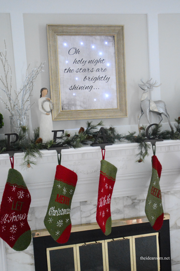 Sometimes simple is better - and this lighted Christmas Sign is the perfect addition to this simple mantel.
