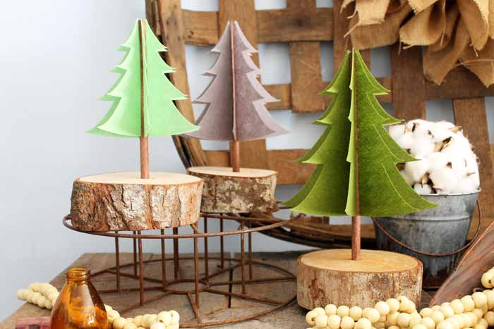 A simple project to add a forest of fun trees to your home. These will actually be perfect for Christmas and also winter decor.