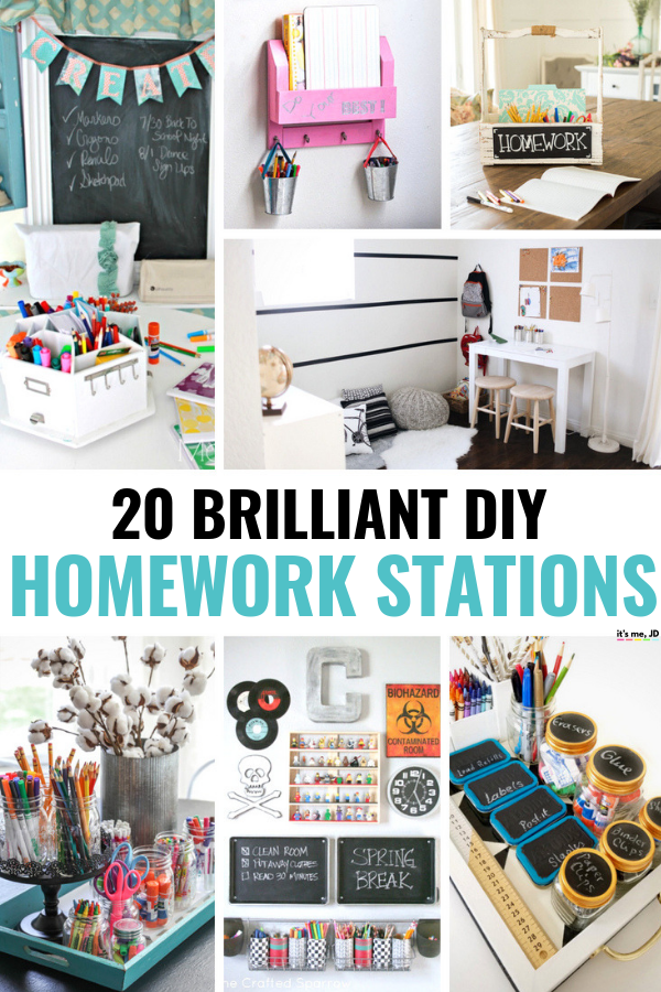 20 Brilliant DIY Homework Station Ideas #homeworkstation #diy #homeoffice