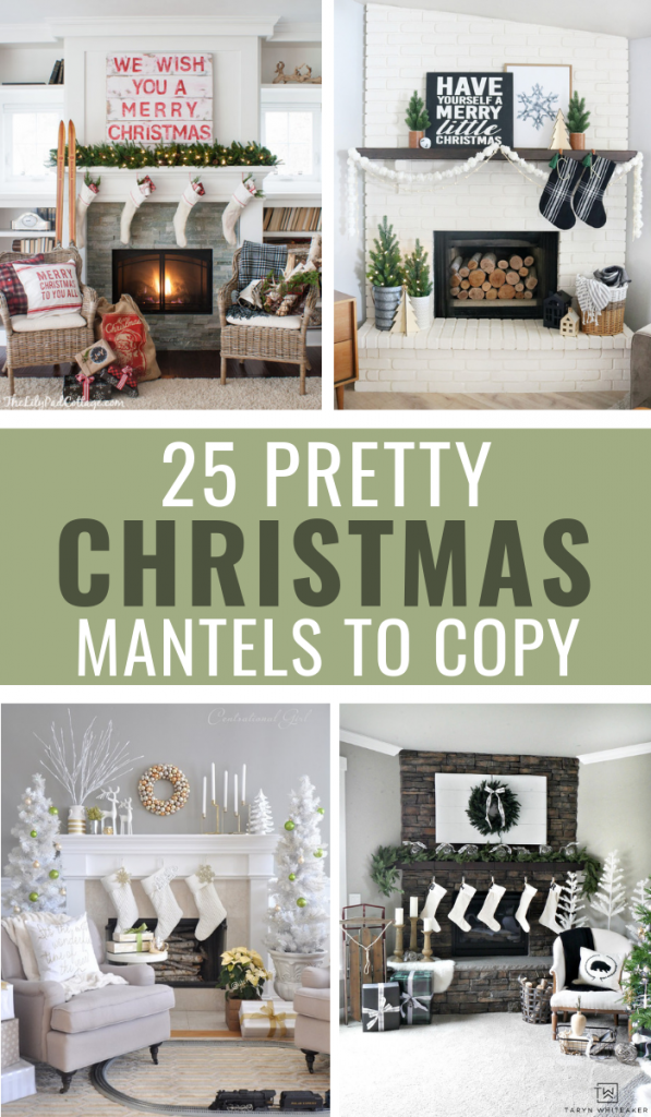 25 Pretty Christmas Mantel Decorating Ideas To Copy #christmas #christmasmantel #holiday #holidaymantel #holidaydecor