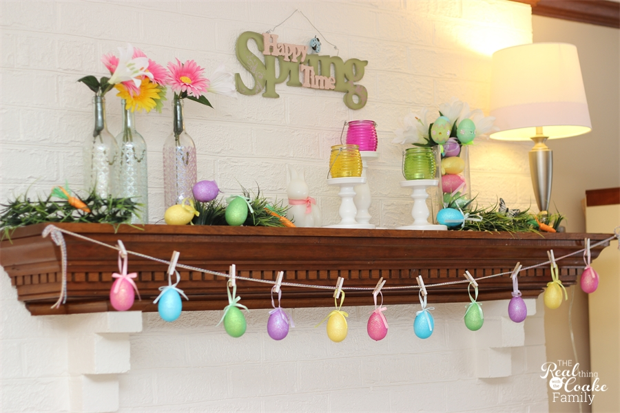 The Easter Egg Garland helps add to the whimsy of this Easter Mantel.