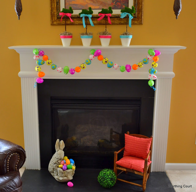 Don't throw away the unused plastic eggs when Easter is over!  Save them for next year's mantel!