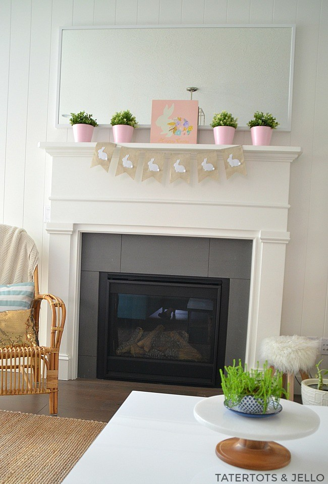 When you add in some pink pots to your Easter Mantel, they can stay up throughout Spring.