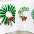 DIY Wreath cards for christmas that kids can make