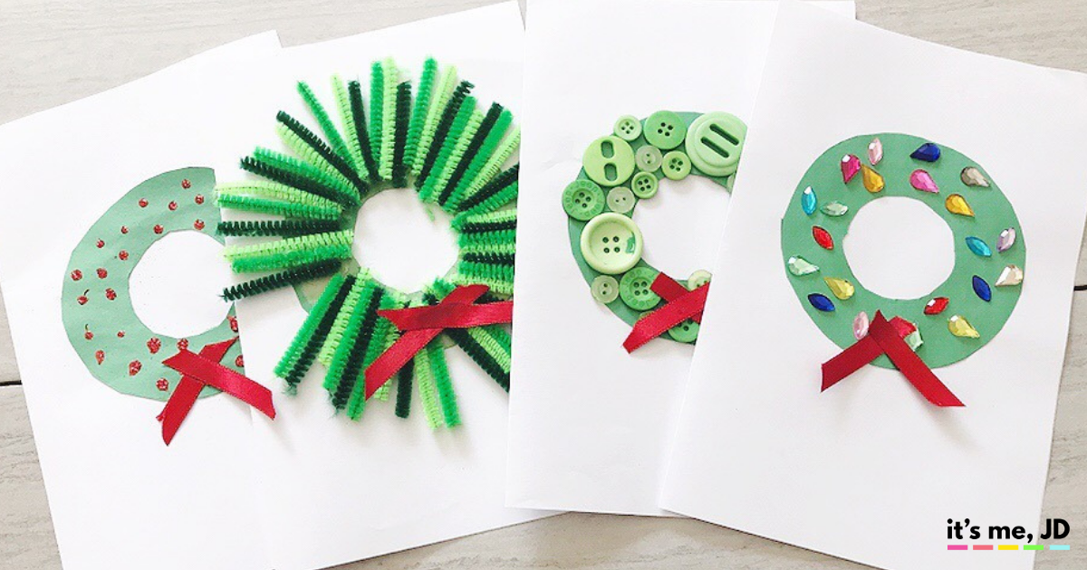 Paper Christmas Wreath Ideas.Diy Christmas Wreath Cards That Kids Can Make For The Holidays